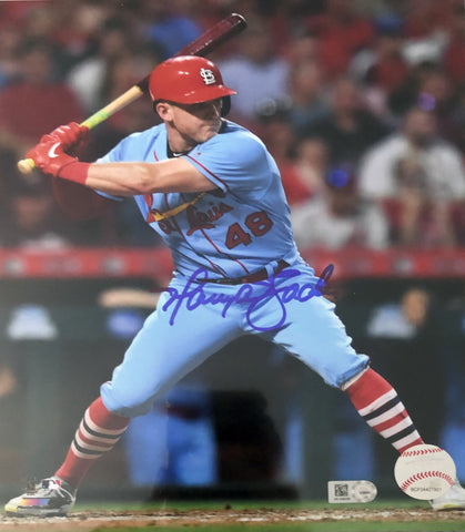 Harrison Bader Autographed 16x20 - Powder Blue Batting