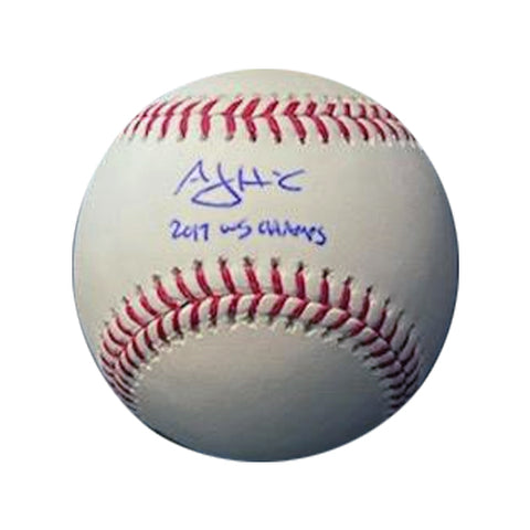 "AJ Hinch Autographed Rawlings Official Major League Baseball with ""17 WS Champs"" Inscription"