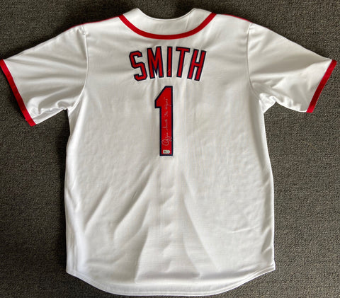 "Ozzie Smith ""The Wizard"" Autographed White Cardinals Jersey"