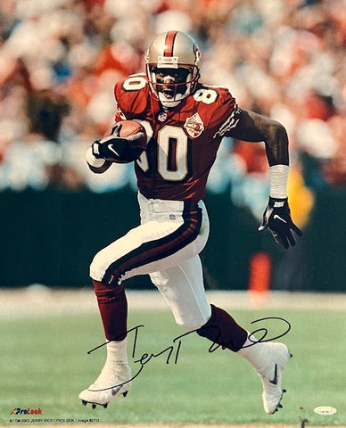Jerry Rice Autographed 49ers Up Close Running 16x20