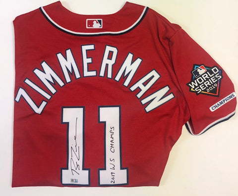 "Ryan Zimmerman Autographed ""2019 WS Champs"" Nationals Red Replica Jersey - 2019 WS Logo Patch"