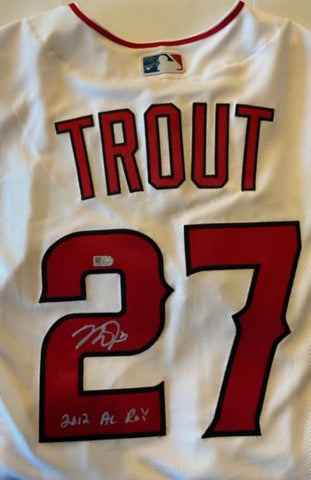 "Mike Trout ""2012 AL ROY"" Autographed White Jersey"