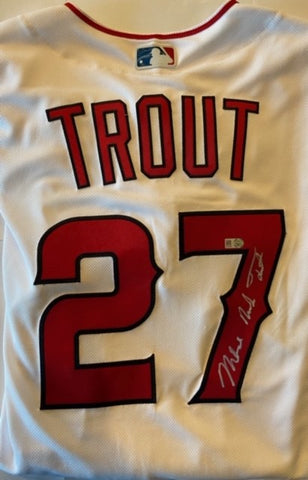 Mike Trout Autographed Full Name Authentic White Los Angeles Angels Jersey