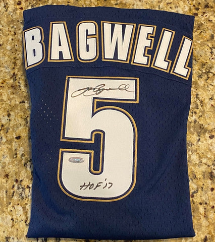 "Jeff Bagwell Autographed Throwback Houston Astros Blue Mitchell & Ness Jersey with ""HOF 17"" Inscription (TriStar Authenicated)"
