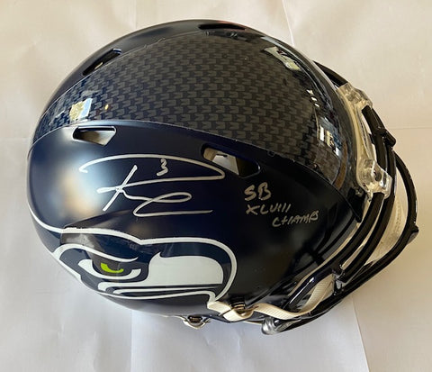 "Russell Wilson Autographed Riddell Authentic Seattle Seahawks Full Size Helmet with ""SB XLVIII Champs"" Inscription (RW Authentication)"