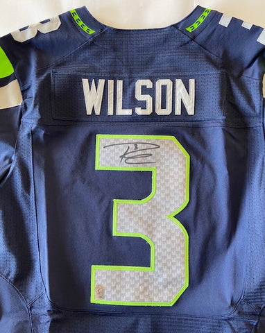Russell Wilson Autographed Nike Elite Blue Seattle Seahawks Jersey (RW Authentication)