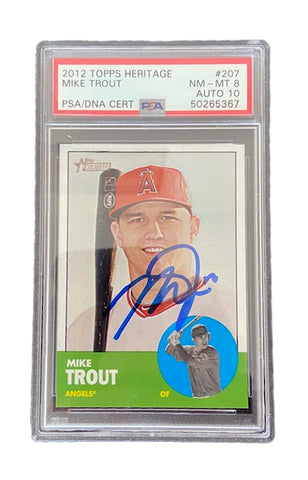 Mike Trout Autographed 2012 Topps Heritage Trading Card PSA NM_MT 8 AUTO 10