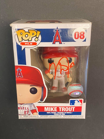 Mike Trout Angels Autographed Funko Pop Damaged (Option 3)