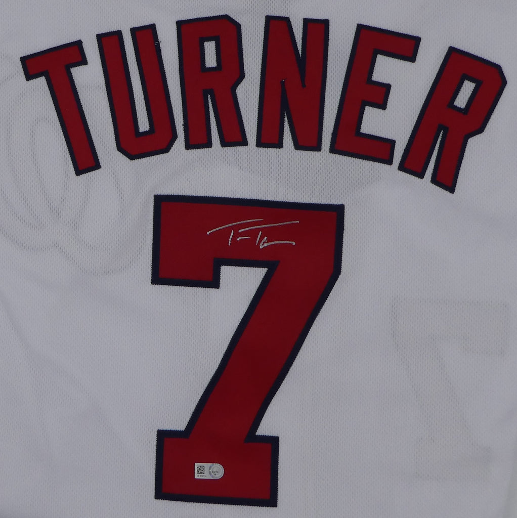 sports shoes 75336 94f85 Trea Turner Autographed White Nationals Jersey