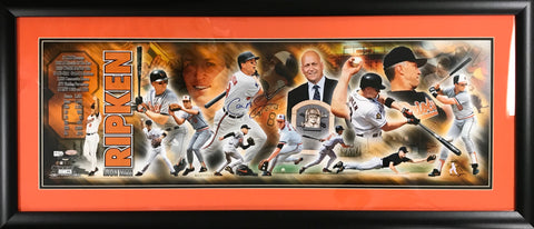 Cal Ripken Jr. Autographed Framed 36x12 Collage