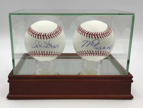 Two Baseball Glass Display Case