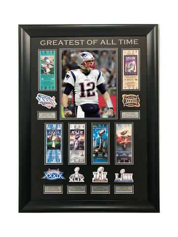 Tom Brady GOAT Super Bowl Championships Replica Ticket Collage
