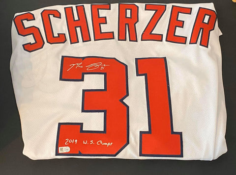 Max Scherzer Autographed Authentic Flexbase Home (White) Washington Nationals Jersey with 2019 WS Champs Inscription