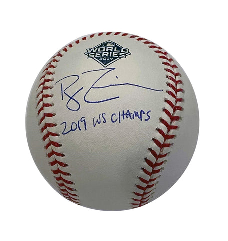 "Ryan Zimmerman Autographed ""2019 WS Champs"" 2019 WS Logo (Blue)  Baseball unauth"