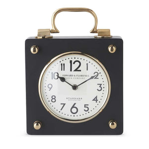 Black and Gold Square Metal European Clock