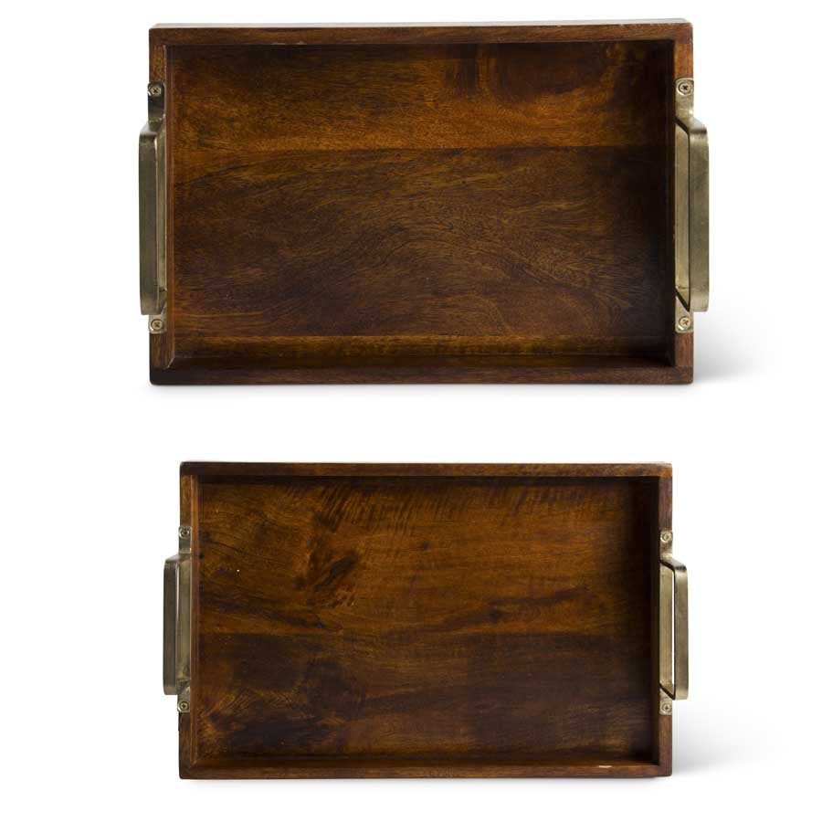 Wood Tray with Gold Handles