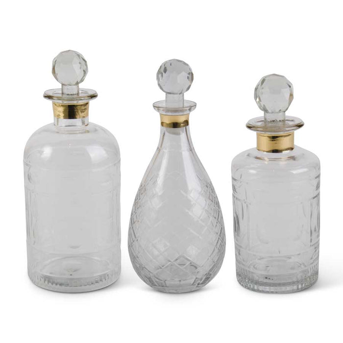 Glass Decanter with Gold Trim - 3 Styles