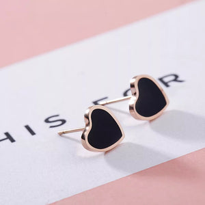Black titanium heart earrings