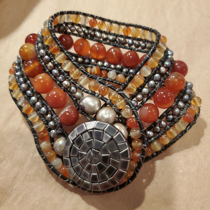 Stone Addiction Cuff Bracelet with red agate