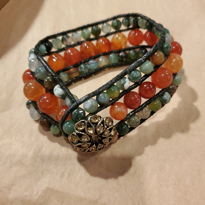 Copy of Stone Addiction Cuff Bracelet with fire agate