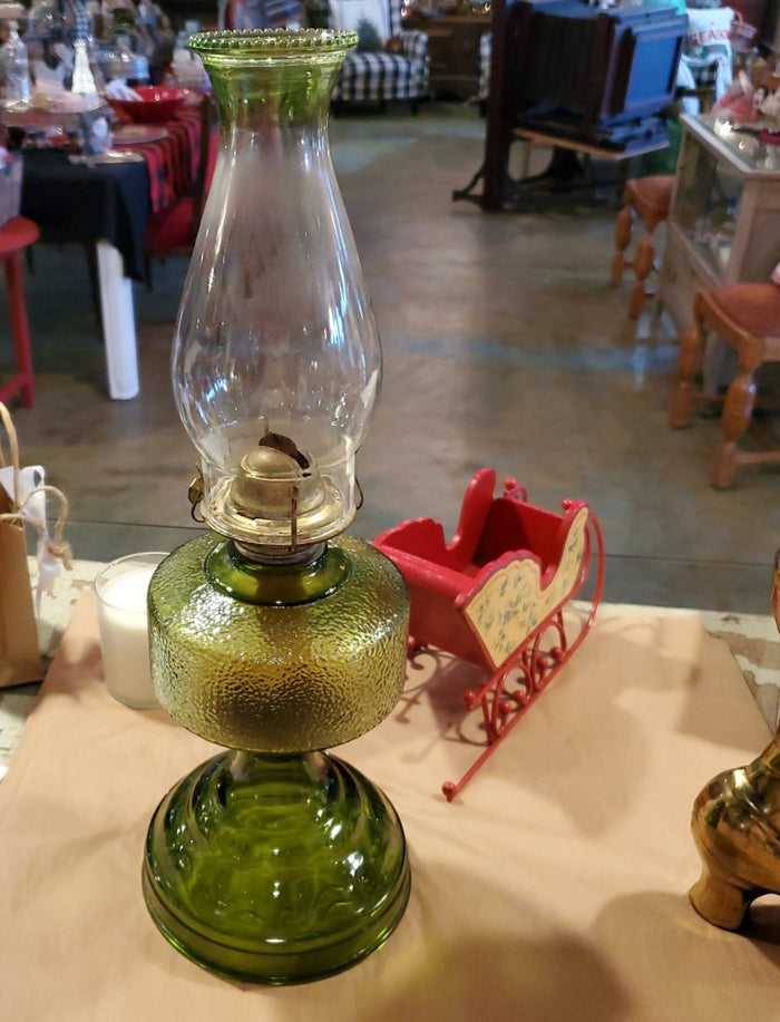 Green depression glass oil lamp with original chimney