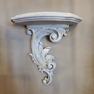 White-washed ornate shelf - vintage