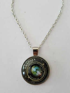 Graphex Camera Lens Cabuchon Charm Necklace - Handmade