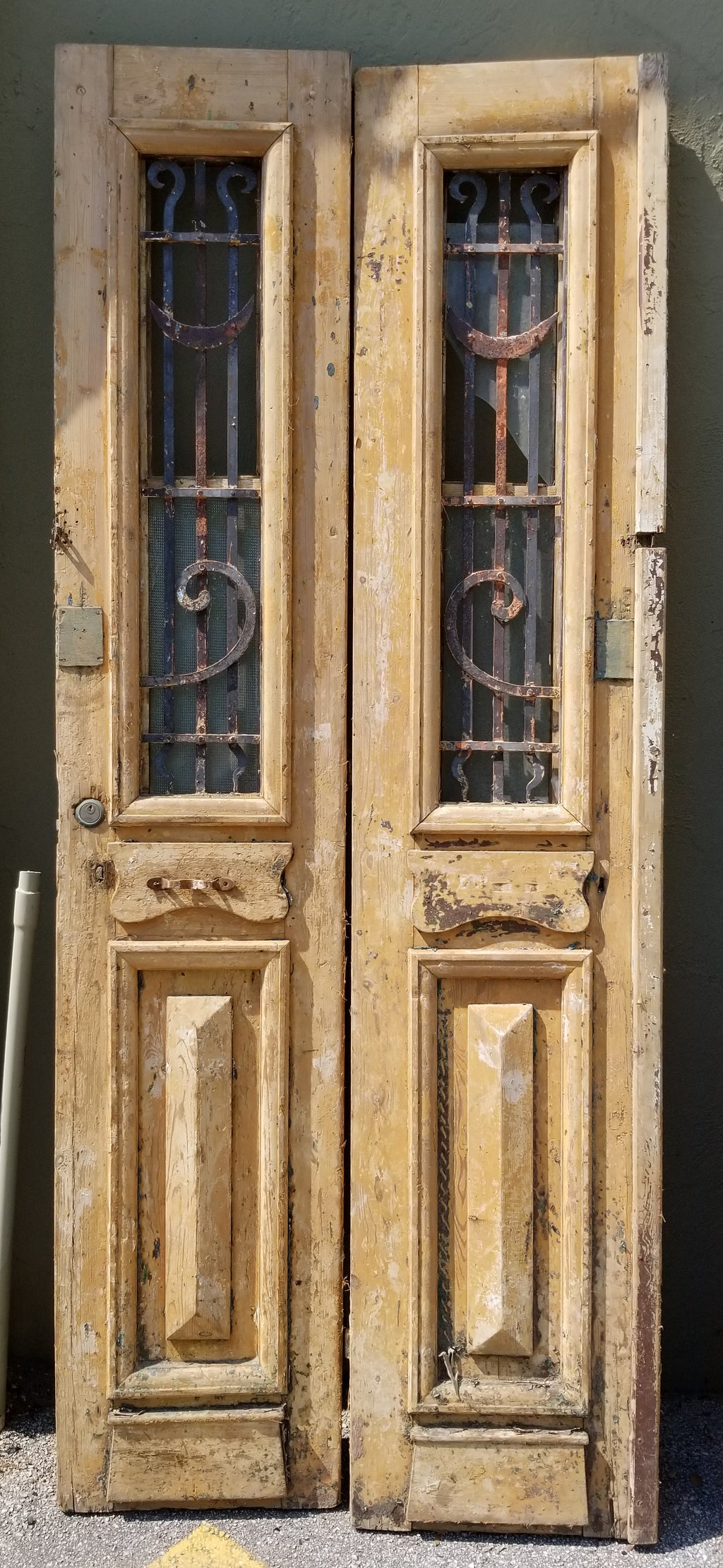 Antique Solid Wood Door Set - iron detail window
