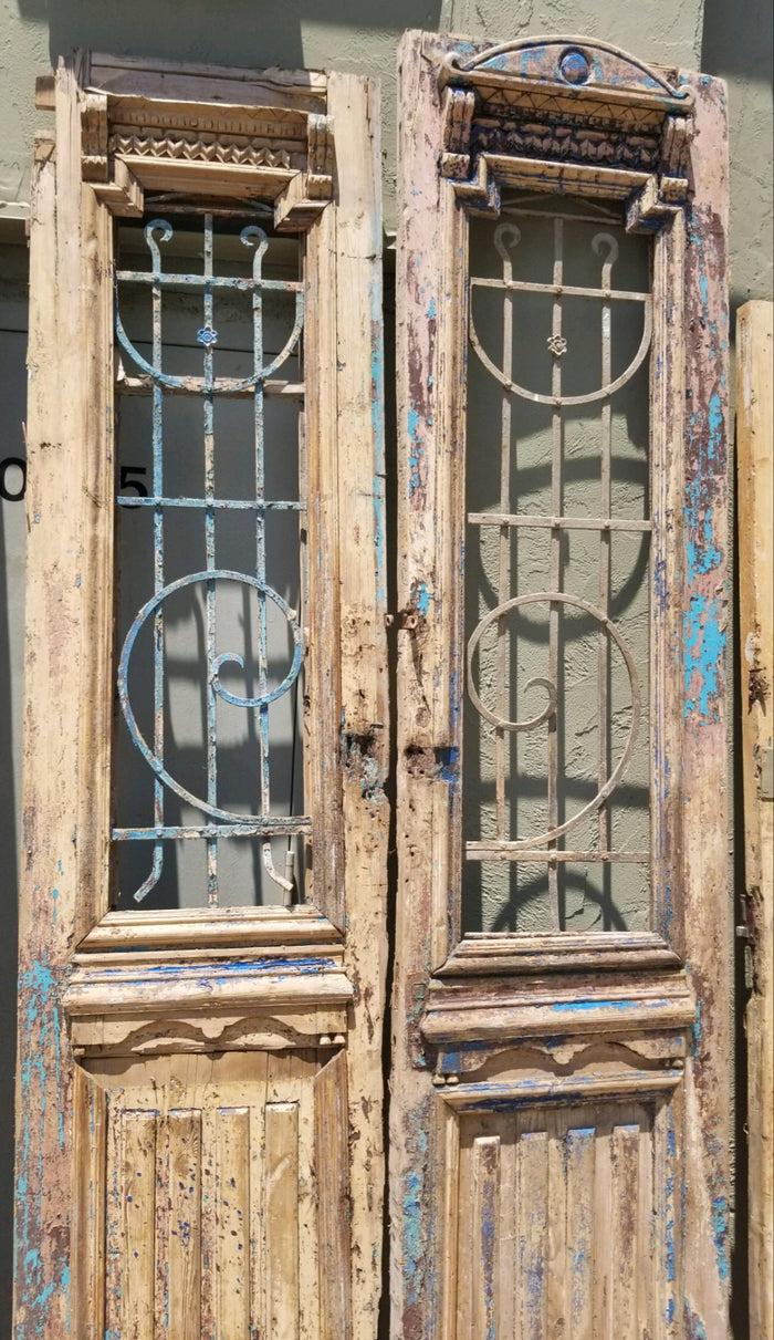 Antique Solid Wood Door Set - blue chippy paint detail
