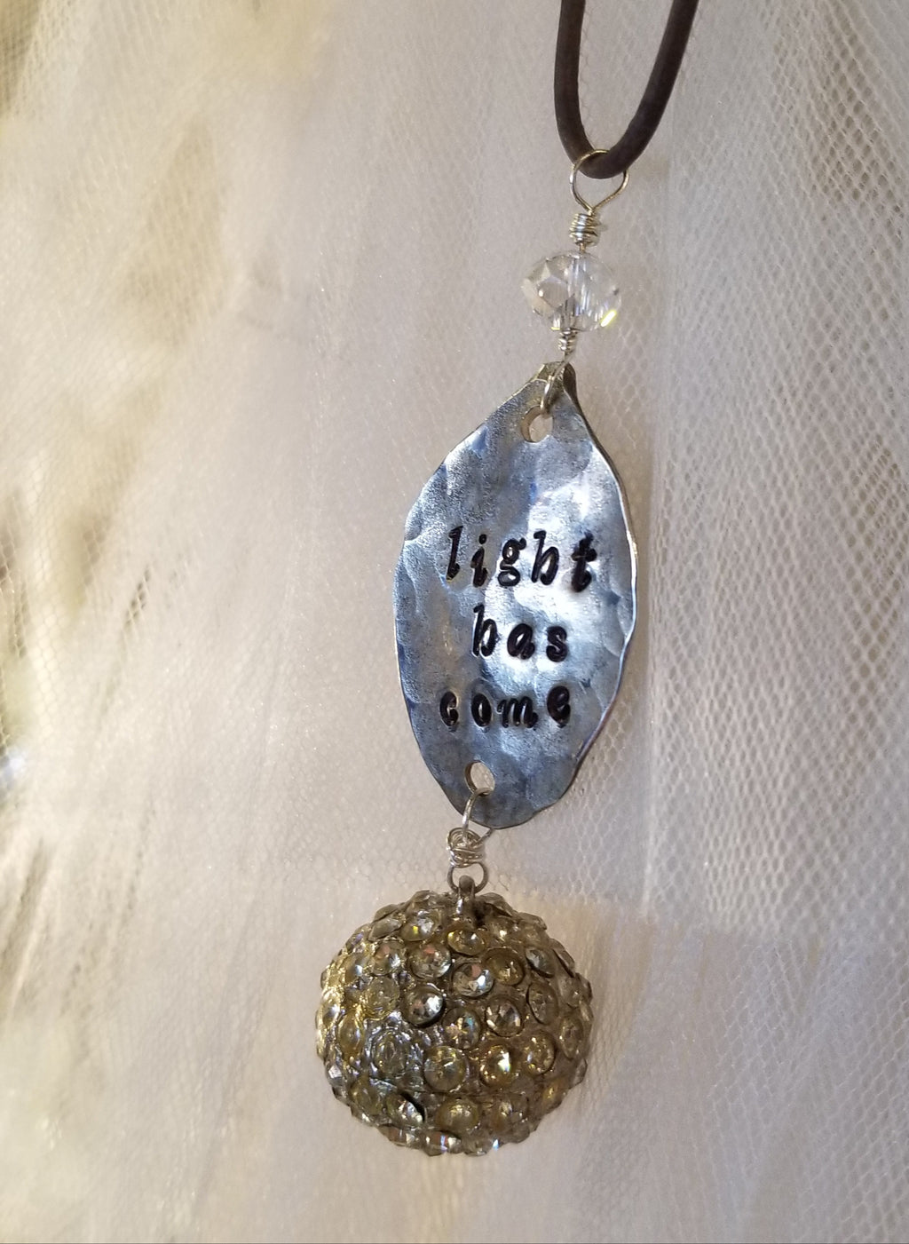 Hand Stamped Vintage Silverware Necklace - Light has come