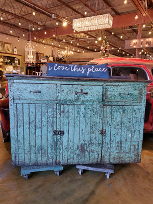 Antique Green Painted Machine Shop Cabinet