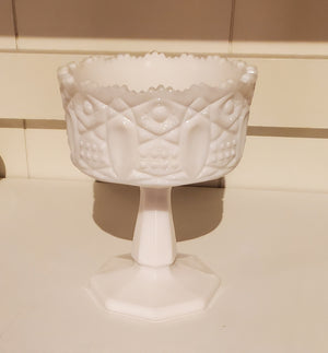 Vintage milk glass candy dish - Westmoreland Old Quilt pattern
