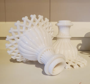 Vintage Milk glass candlestick - Westmoreland Lattice Edge