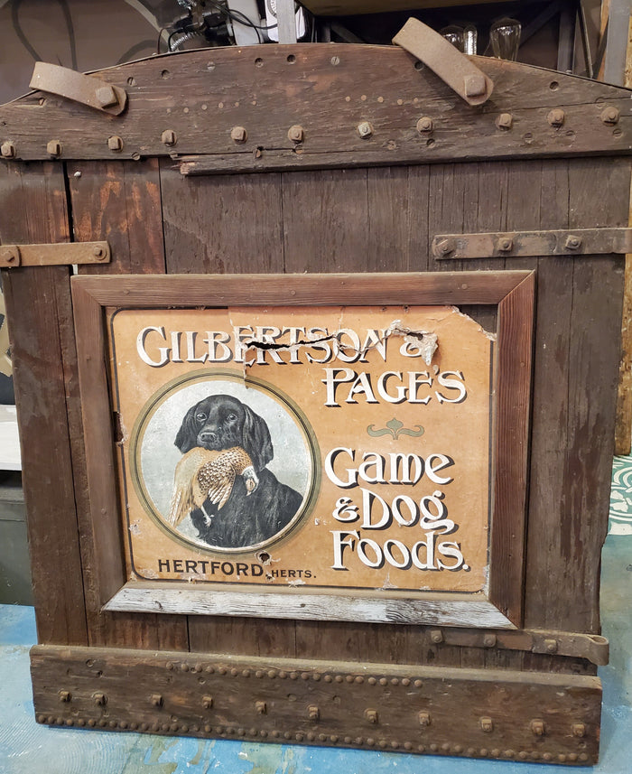 Antique Gilbertson & Page dog food store sign - English advertising