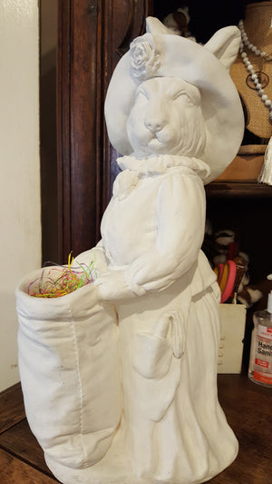 Tall Porcelain Bunny with basket