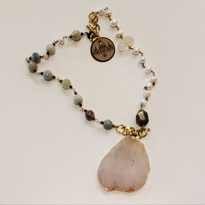 Agate cut herkimer diamond necklace