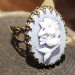 Blue Mermaid cameo ring handmade by Anni Frohlich