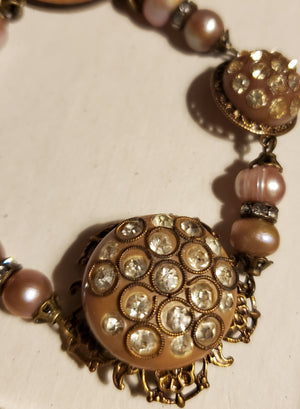 Vintage rhinestone button bracelet by Beautiful Ruin