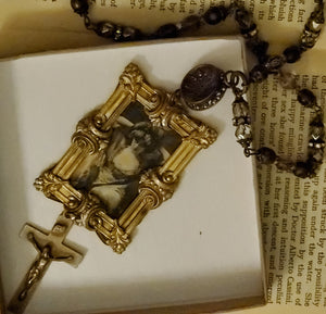 Victorian button and bronze frame necklace by Beautiful Ruin