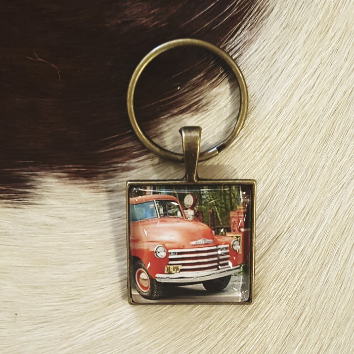 Vintage Red Truck key chain
