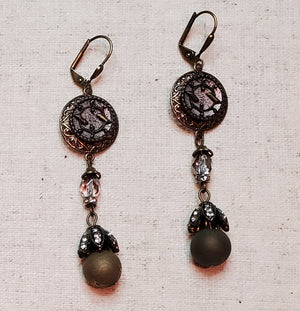 Victorian Button Earrings with Druzy Drops by Beautiful Ruin