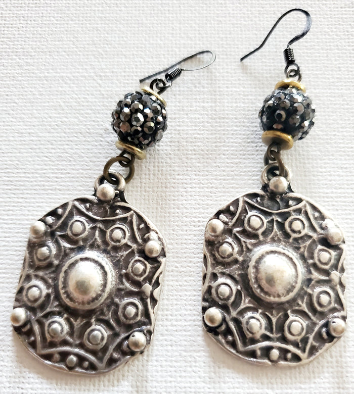 Pave cut silver drop earrings  - Artist Made