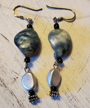Blue shell artisan made earrings - E18
