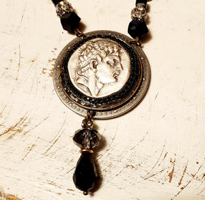 Roman coin and brass assemblage necklace  - artist made
