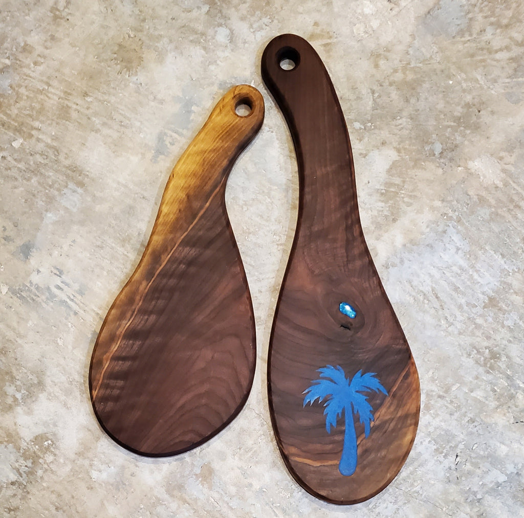 Walnut Cutting Board with Palm Tree Resin Inlay - Handmade in Jacksonville