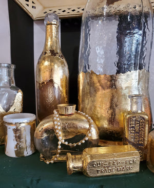 Antique Bottle with gold leaf - various