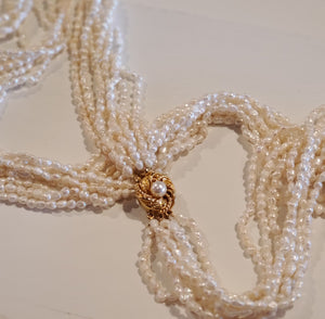 Vintage 8-strand cultured pearl necklace