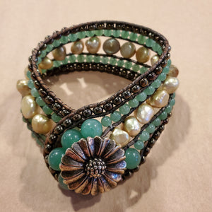 Stone Addiction Cuff Bracelet Fresh Pearls & Green Adventure