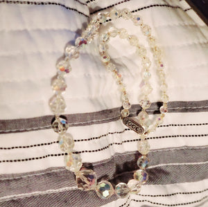 Vintage Sterling Silver Aurora Borealis Glass Faceted Bead Necklace