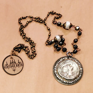 Roman coin and pearl assemblage necklace  - artist made